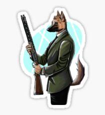 German Shepherd Hitman Dog Sticker