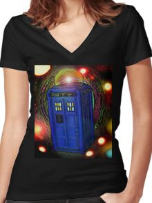 WALKING IN INFINITY Women's Fitted V-Neck T-Shirt