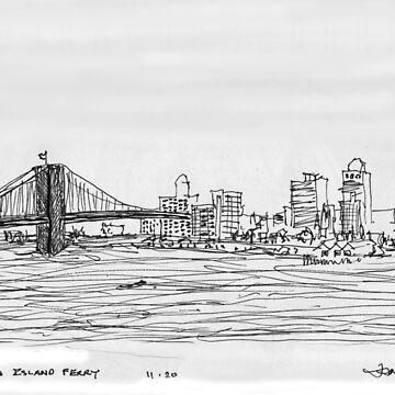 NYC- Brooklyn Bridge as drawn from Staten Island Ferry by JamesLHamilton