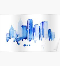 silhouette of the city of new York watercolor hand-drawn Poster