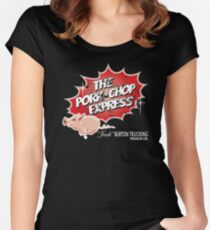 Pork Chop Express -  Distressed Women's Fitted Scoop T-Shirt