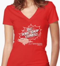 Pork Chop Express -  Distressed Women's Fitted V-Neck T-Shirt