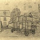 A digitally treated image of my pencil drawing of Steam Threshing in Yorkshire, England by Dennis Melling
