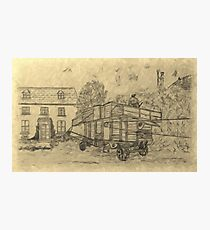 A digitally treated image of my pencil drawing of Steam Threshing in Yorkshire, England Photographic Print