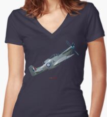 Plane & Simple - CAC Mustang VH-MFT Women's Fitted V-Neck T-Shirt