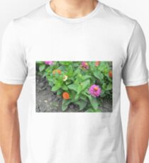 Colorful pink and orange flowers in green leaves bush in the garden. T-Shirt