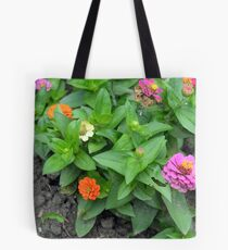 Colorful pink and orange flowers in green leaves bush in the garden. Tote Bag