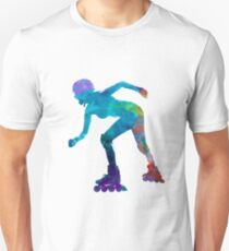 Woman in roller skates 10 in watercolor T-Shirt