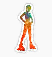 Woman in roller skates 11 in watercolor Sticker