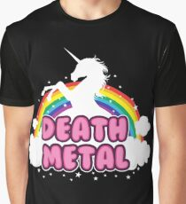 DEATH metal parody funny unicorn rainbow  Graphic T-Shirt