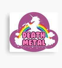 DEATH metal parody funny unicorn rainbow  Canvas Print