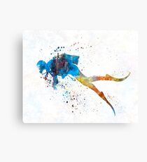 Mann-Sporttaucher 01 im Aquarell Leinwanddruck