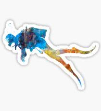 Man scuba diver 01 in watercolor Sticker