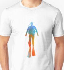 Man scuba diver 04 in watercolor Unisex T-Shirt
