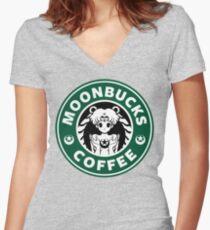 Moonbucks Coffee Women's Fitted V-Neck T-Shirt
