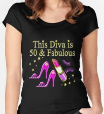 PURPLE SPARKLING FABULOUS 50TH DESIGN Women's Fitted Scoop T-Shirt
