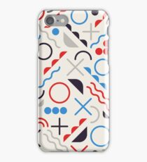 Jumble Shapes in Blue Red White Color Geometric Retro Pattern  iPhone Case/Skin