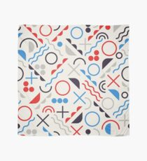 Jumble Shapes in Blue Red White Color Geometric Retro Pattern  Scarf