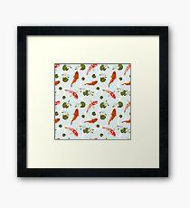 Japanesse Fish Pattern Background Framed Print