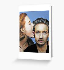 David Duchovny Gillian Anderson X Files Lick Pic Painting Greeting Card