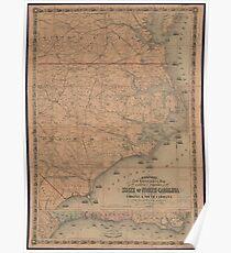 Vintage Map of Eastern North Carolina (1862) 2 Poster