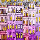 Pink & Purple Townhouse Cats by Ryan Conners