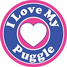 I LOVE MY PUGGLE DOG HEART I LOVE MY DOG PET PETS PUPPY STICKER STICKERS DECAL DECALS by MyHandmadeSigns
