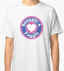 PUGGLE SNUGGLE A PUGGLE DOG HEART I LOVE MY DOG PET PETS PUPPY STICKER STICKERS DECAL DECALS Classic T-Shirt
