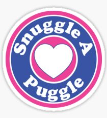 PUGGLE SNUGGLE A PUGGLE DOG HEART I LOVE MY DOG PET PETS PUPPY STICKER STICKERS DECAL DECALS Sticker