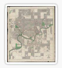 Vintage Map of Edmonton Canada (1912) Sticker