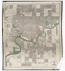 Vintage Map of Edmonton Canada (1912) Poster