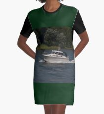 Small Cabin Cruiser Graphic T-Shirt Dress