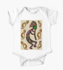 Kokopelli Rainbow Colors on Tribal Pattern  One Piece - Short Sleeve