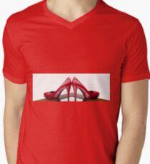 Red High Heels Mens V-Neck T-Shirt