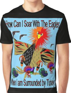"""SOARING WITH EAGLES"" Abstract Comical Print Graphic T-Shirt"