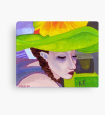 Girl with Big Green Hat Canvas Print