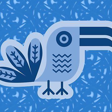 Toucan, pájaro, birdy, azul, vector, formas de boom-art