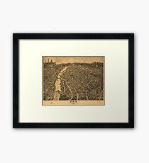 Vintage Pictorial Map of Elgin Illinois (1880) Framed Print