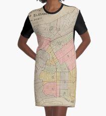 Vintage Map of Elizabeth NJ (1902) Graphic T-Shirt Dress