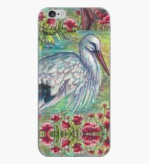 White Stork with Poppies iPhone Case