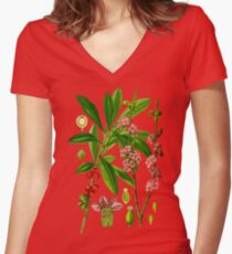 mezereon Women's Fitted V-Neck T-Shirt