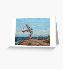 Tarjeta de felicitación velero robot