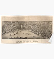 Vintage Pictorial Map of Evansville Indiana (1880) Poster