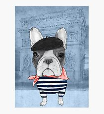 French Bulldog in front of Arc de Triomphe. Photographic Print
