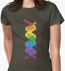 Rainbow Double Helix Women's Fitted T-Shirt