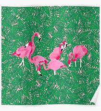 Flamingos on delicious monsters Poster