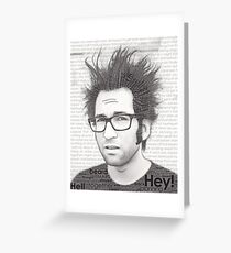 Typography Portrait of Justin Pierre (singer/guitarist) of Motion City Soundtrack Greeting Card
