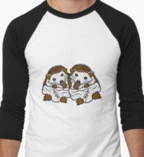 siblings brothers sisters twins 2 children babies diaper pacifier sitting round child baby offspring sweet little cute hedgehog Men's Baseball ¾ T-Shirt