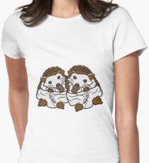 siblings brothers sisters twins 2 children babies diaper pacifier sitting round child baby offspring sweet little cute hedgehog Women's Fitted T-Shirt