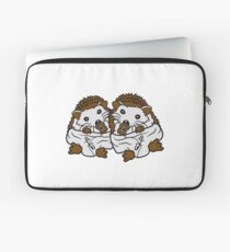 siblings brothers sisters twins 2 children babies diaper pacifier sitting round child baby offspring sweet little cute hedgehog Laptop Sleeve